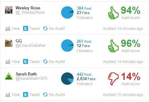 Twitter Audit falsos seguidores