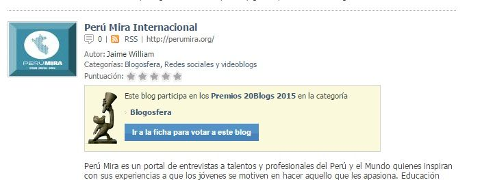 Premios 20Blogs del diario 20minutos.es.