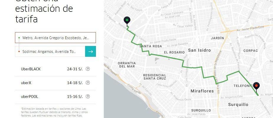Uber estimacion de viaje