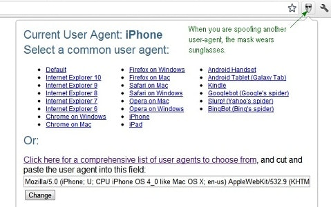 Extension User-Agent Switcher