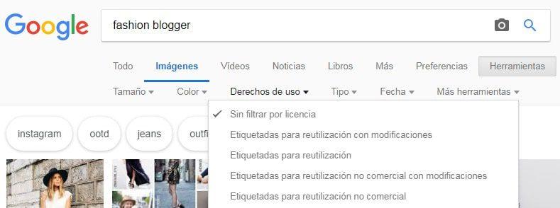 filtro imagenes de Google